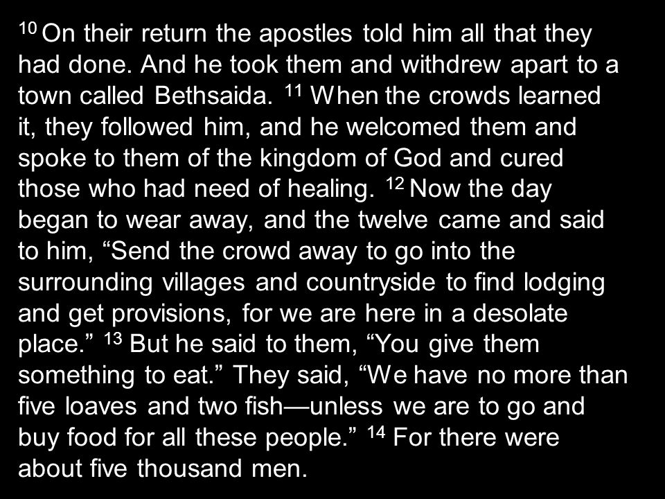 10 On their return the apostles told him all that they had done.