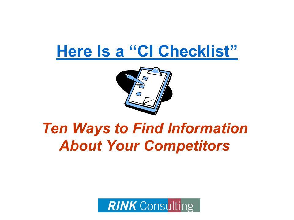 (c) March 10, 20086 CI Checklist 1.Industry Association(s)