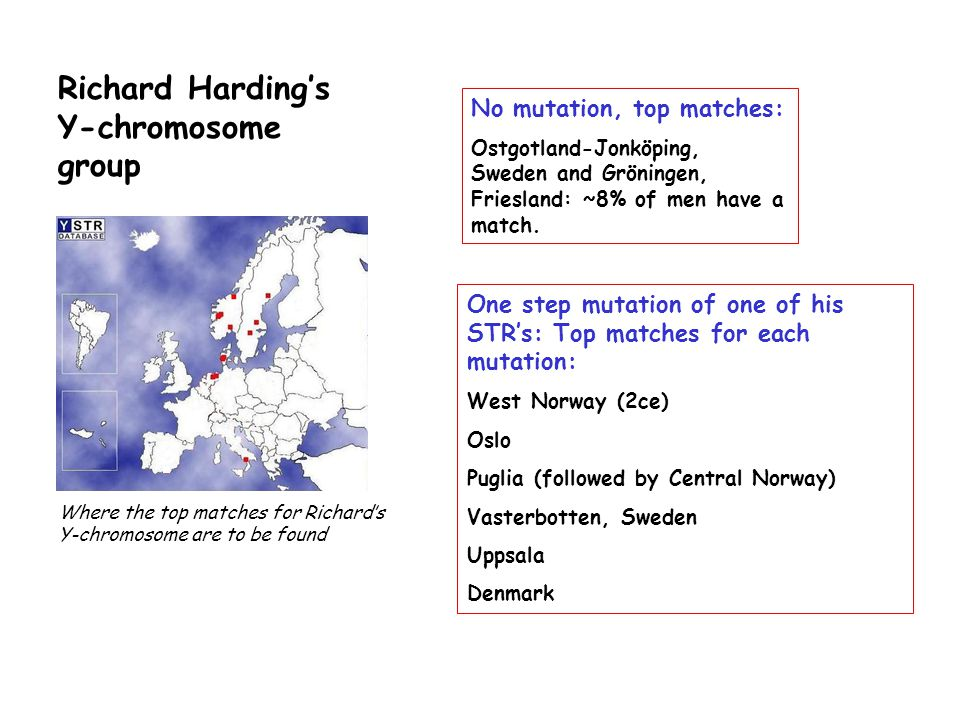 Richard Harding's Y-chromosome group One step mutation of one of his STR's: Top matches for each mutation: West Norway (2ce) Oslo Puglia (followed by