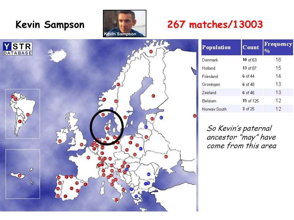 "Kevin Sampson267 matches/13003 So Kevin's paternal ancestor ""may"" have come from this area"