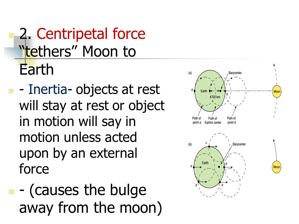 "2. Centripetal force ""tethers"" Moon to Earth - Inertia- objects at rest will stay at rest or object in motion will say in motion unless acted upon by"