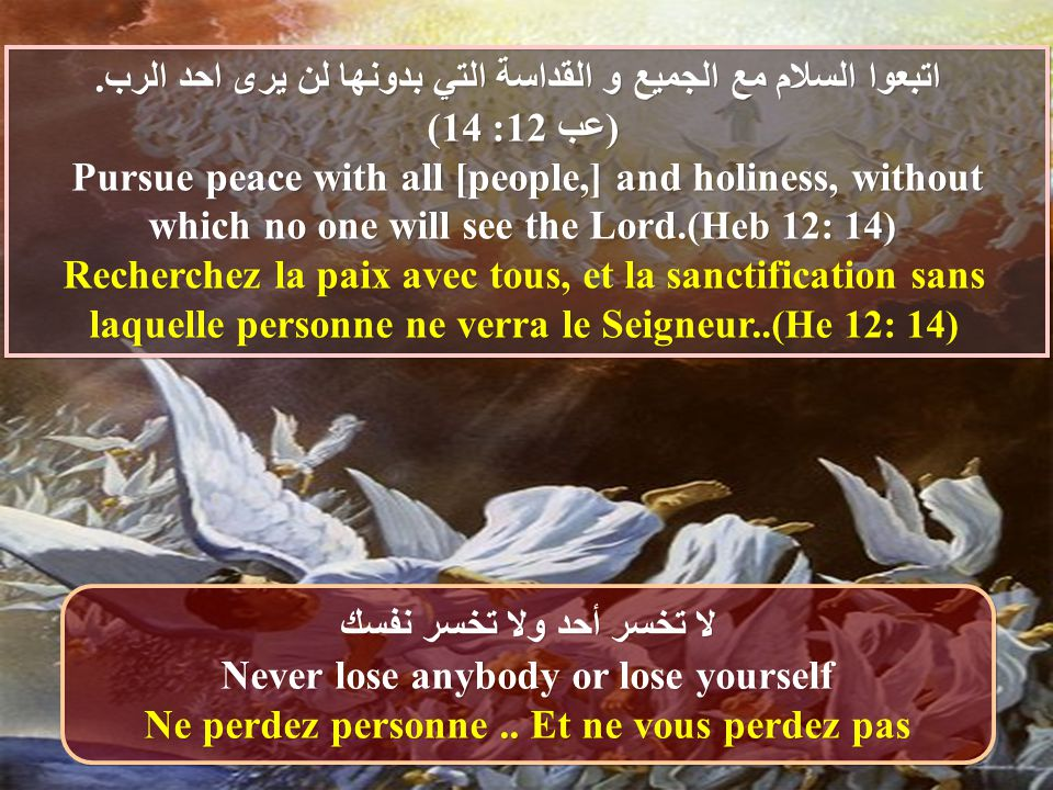 اتبعوا السلام مع الجميع و القداسة التي بدونها لن يرى احد الرب. (عب 12: 14) Pursue peace with all [people,] and holiness, without which no one will see