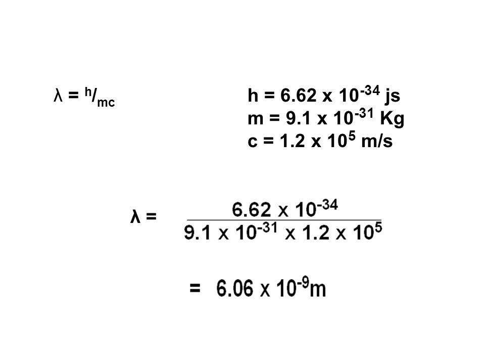 λ = h / mc h = 6.62 x 10 -34 js m = 9.1 x 10 -31 Kg c = 1.2 x 10 5 m/s λ =
