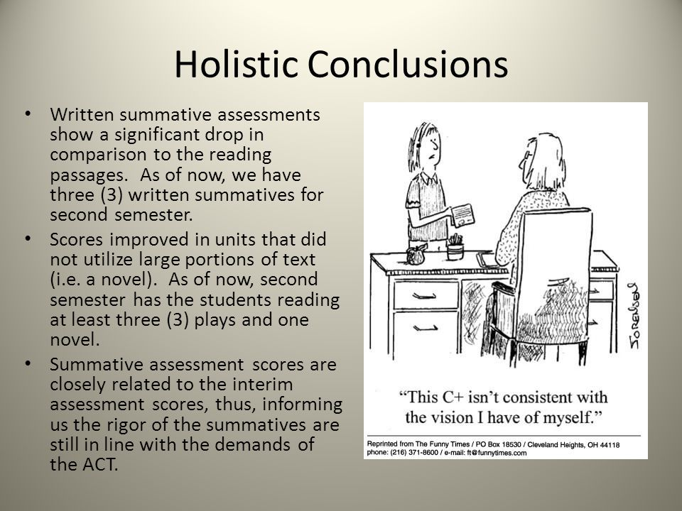 Holistic Conclusions Written summative assessments show a significant drop in comparison to the reading passages.