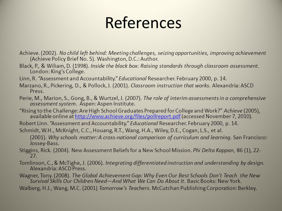 References Achieve. (2002).