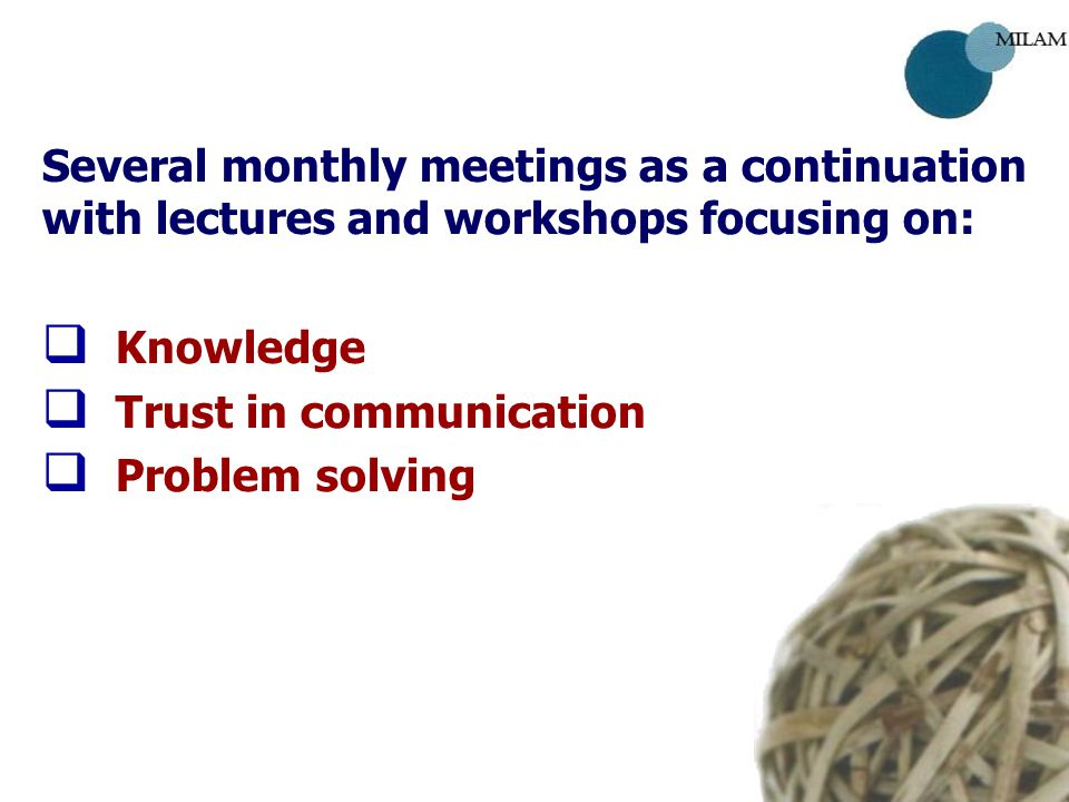 Several monthly meetings as a continuation with lectures and workshops focusing on:   Knowledge   Trust in communication   Problem solving