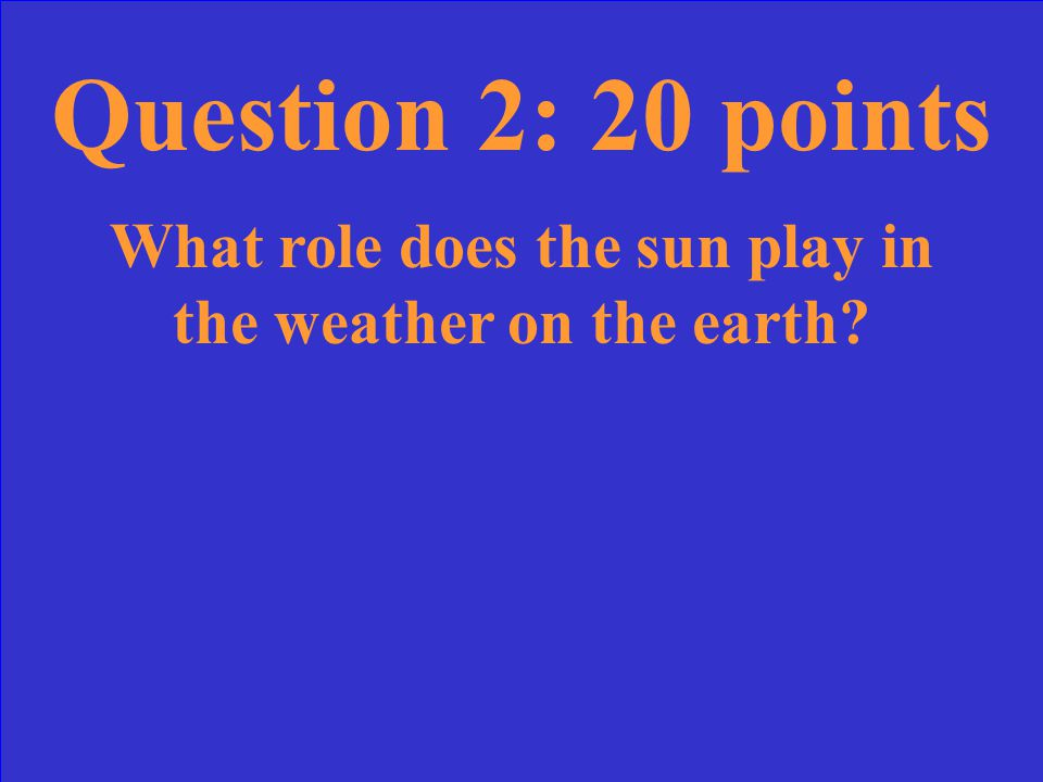 Question 1: 10 points How does air move above a cool surface? Air becomes cool, more dense, and sinks.