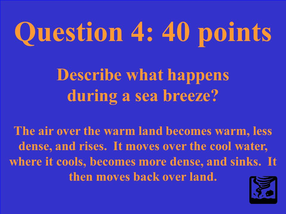 Question 4: 40 points Describe what happens during a sea breeze?