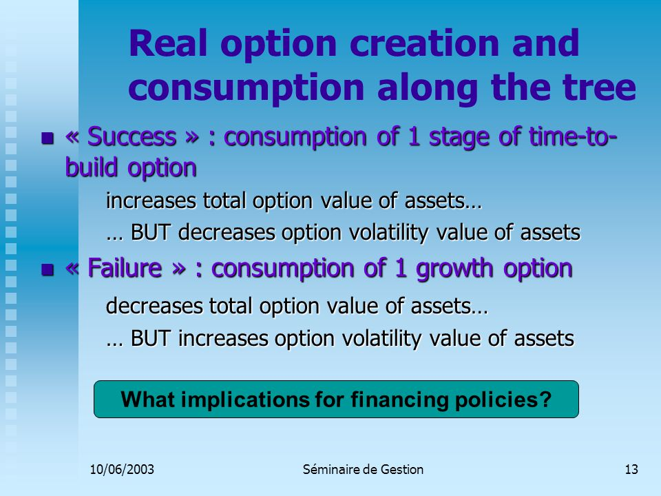 10/06/2003Séminaire de Gestion13 Real option creation and consumption along the tree « Success » : consumption of 1 stage of time-to- build option « Success » : consumption of 1 stage of time-to- build option increases total option value of assets… … BUT decreases option volatility value of assets « Failure » : consumption of 1 growth option « Failure » : consumption of 1 growth option decreases total option value of assets… … BUT increases option volatility value of assets What implications for financing policies