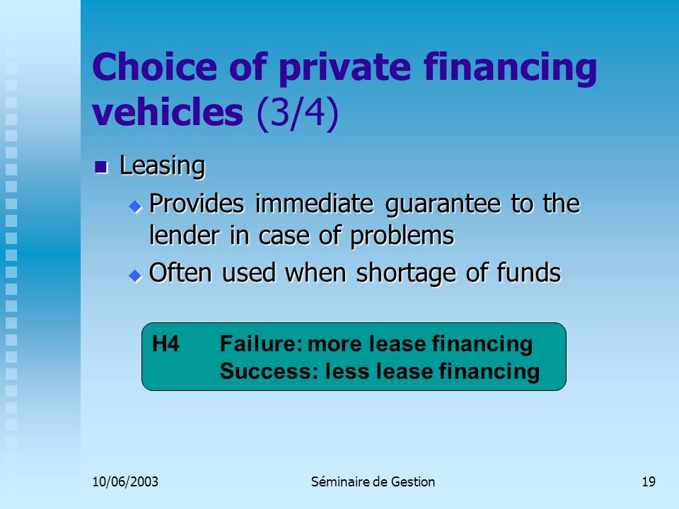 10/06/2003Séminaire de Gestion19 Choice of private financing vehicles (3/4) Leasing Leasing  Provides immediate guarantee to the lender in case of problems  Often used when shortage of funds H4 Failure: more lease financing Success: less lease financing