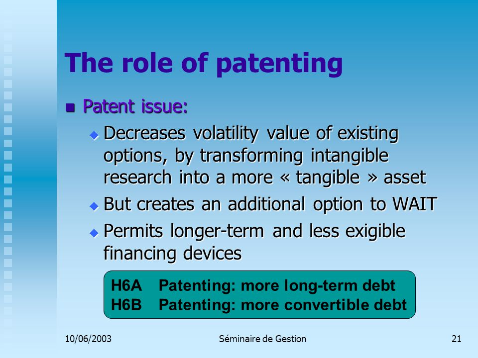 10/06/2003Séminaire de Gestion21 The role of patenting Patent issue: Patent issue:  Decreases volatility value of existing options, by transforming intangible research into a more « tangible » asset  But creates an additional option to WAIT  Permits longer-term and less exigible financing devices H6A Patenting: more long-term debt H6BPatenting: more convertible debt