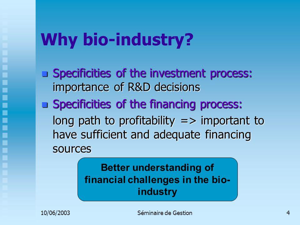 10/06/2003Séminaire de Gestion4 Why bio-industry.