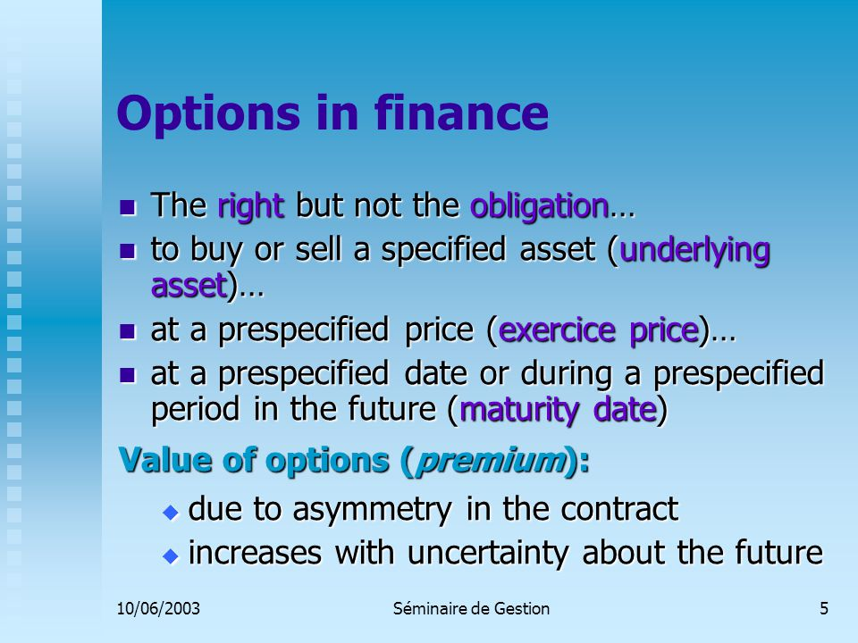 10/06/2003Séminaire de Gestion16 Internal vs external financing: The pecking-order theory 1.