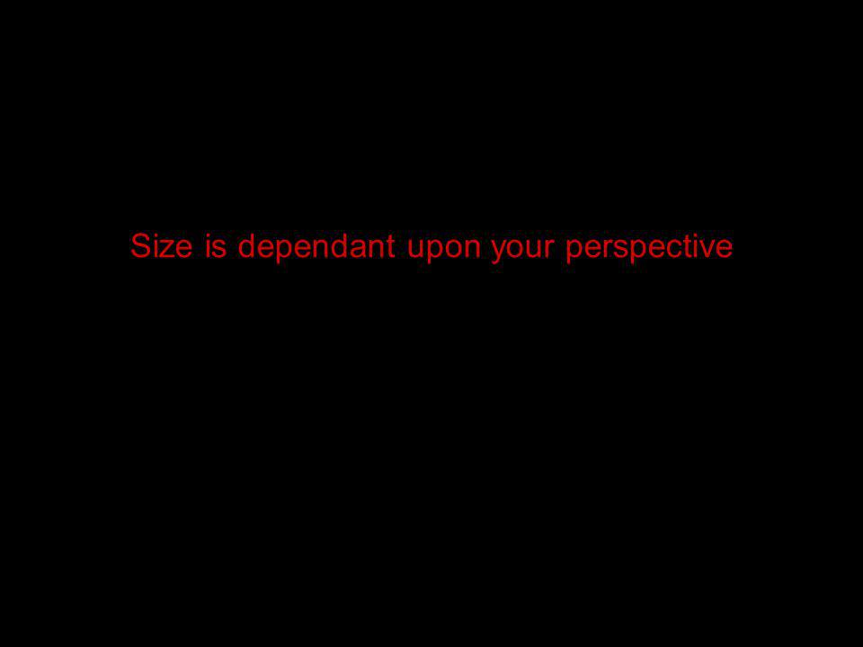 Size is dependant upon your perspective