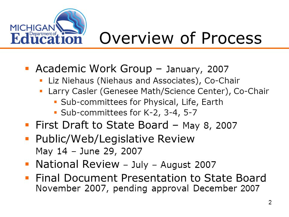 2 Overview of Process  Academic Work Group – January, 2007  Liz Niehaus (Niehaus and Associates), Co-Chair  Larry Casler (Genesee Math/Science Center), Co-Chair  Sub-committees for Physical, Life, Earth  Sub-committees for K-2, 3-4, 5-7  First Draft to State Board – May 8, 2007  Public/Web/Legislative Review May 14 – June 29, 2007  National Review – July – August 2007  Final Document Presentation to State Board November 2007, pending approval December 2007
