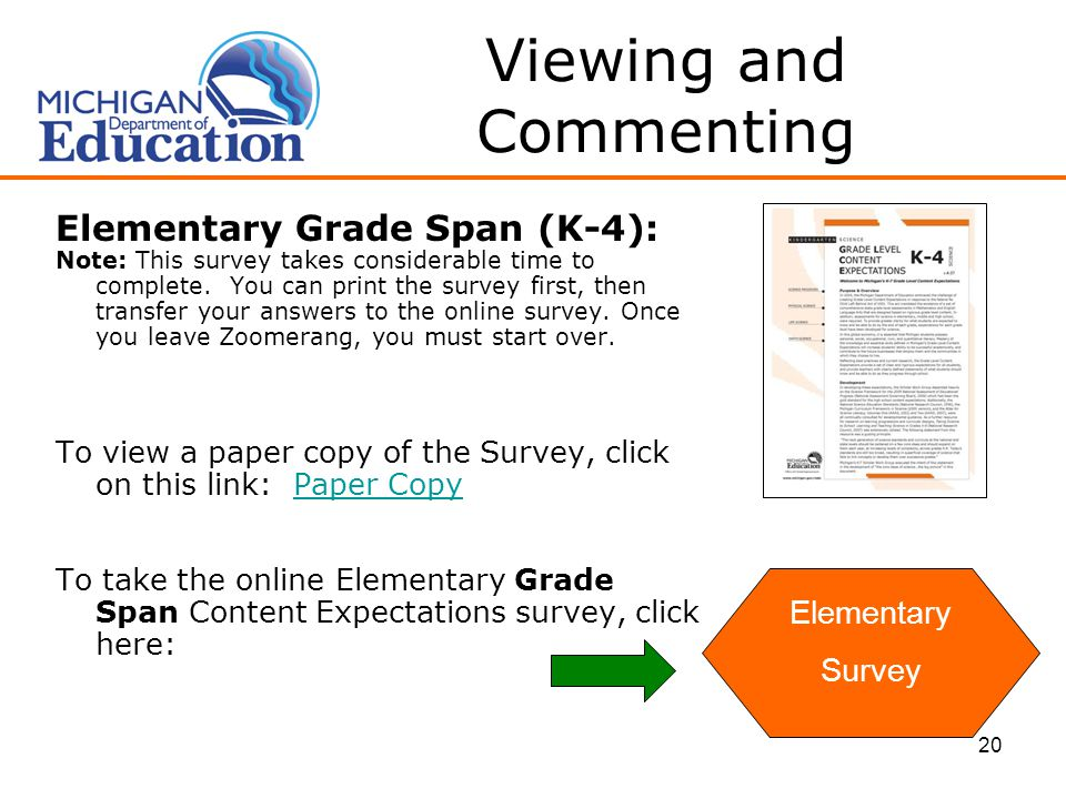 20 Viewing and Commenting Elementary Grade Span (K-4): Note: This survey takes considerable time to complete.