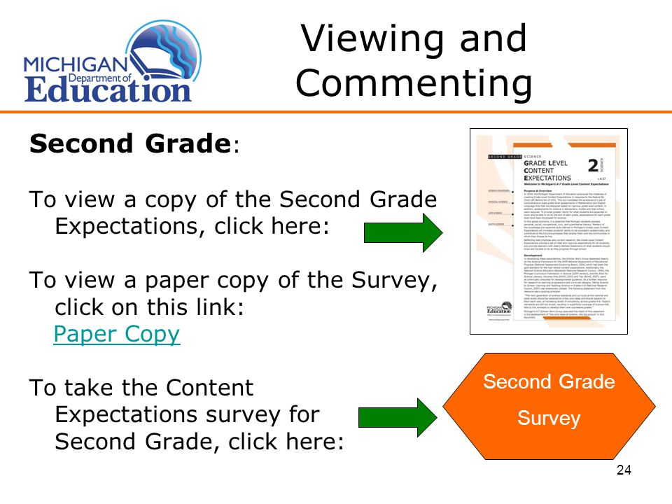 24 Viewing and Commenting Second Grade : To view a copy of the Second Grade Expectations, click here: To view a paper copy of the Survey, click on this link: Paper Copy To take the Content Expectations survey for Second Grade, click here: Second Grade Survey