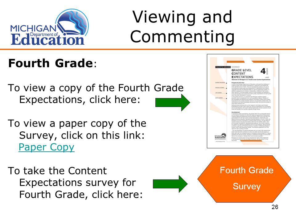 26 Viewing and Commenting Fourth Grade : To view a copy of the Fourth Grade Expectations, click here: To view a paper copy of the Survey, click on this link: Paper Copy To take the Content Expectations survey for Fourth Grade, click here: Fourth Grade Survey