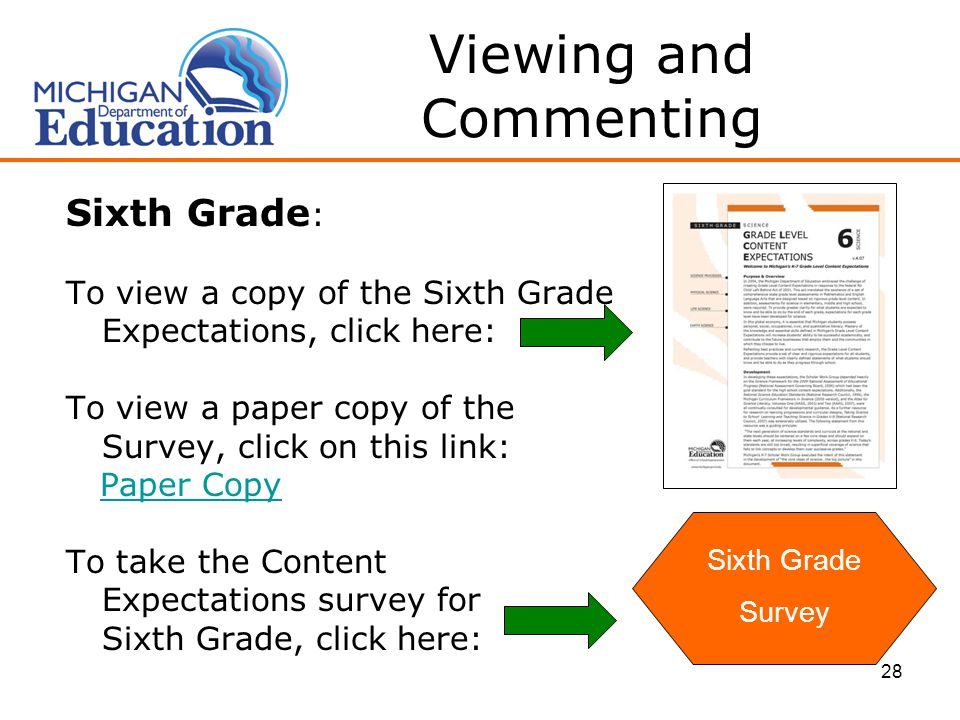28 Viewing and Commenting Sixth Grade : To view a copy of the Sixth Grade Expectations, click here: To view a paper copy of the Survey, click on this link: Paper Copy To take the Content Expectations survey for Sixth Grade, click here: Sixth Grade Survey