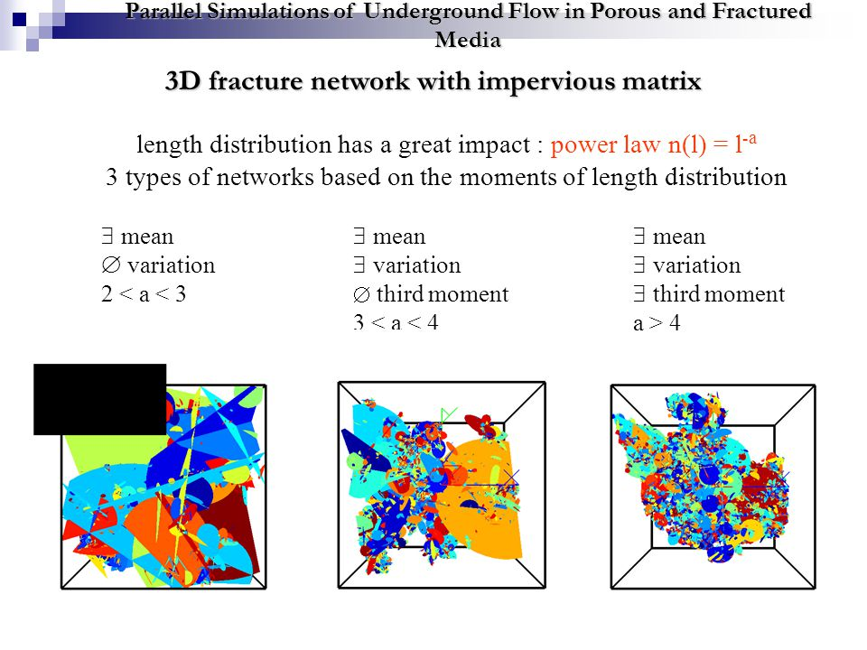 3D fracture network with impervious matrix Parallel Simulations of Underground Flow in Porous and Fractured Media length distribution has a great impact : power law n(l) = l - a 3 types of networks based on the moments of length distribution  mean  variation  third moment 3 < a < 4  mean  variation 2 < a < 3  mean  variation  third moment a > 4