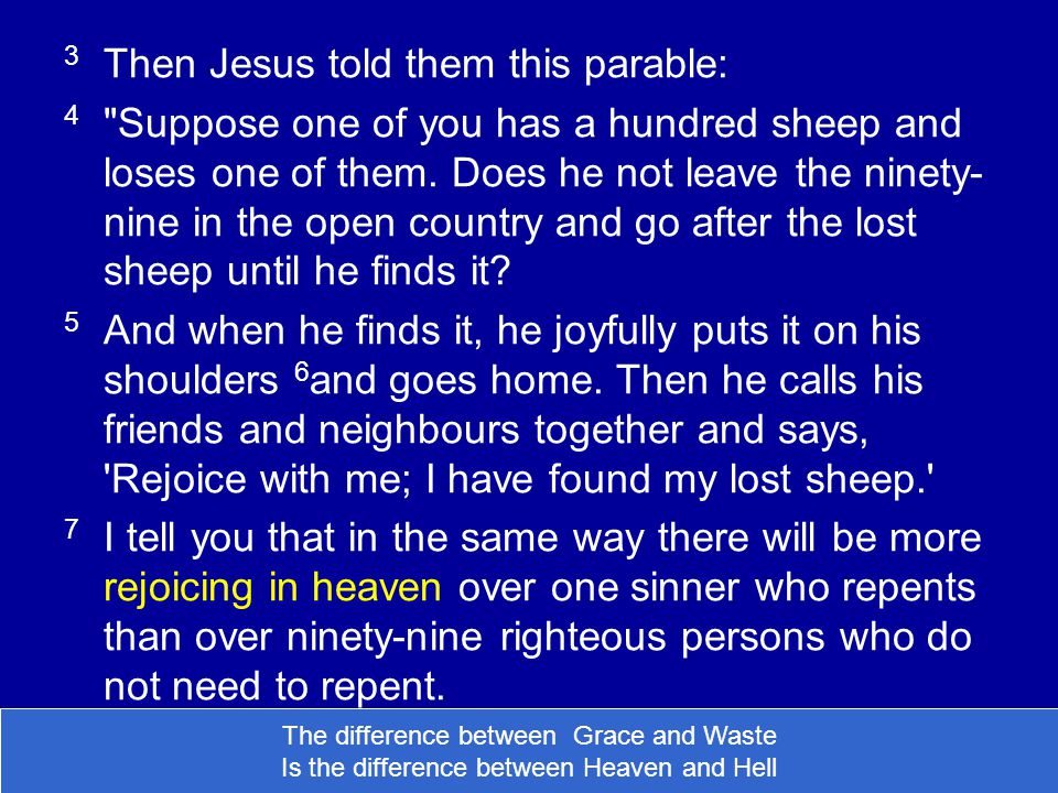 3 Then Jesus told them this parable: 4 Suppose one of you has a hundred sheep and loses one of them.