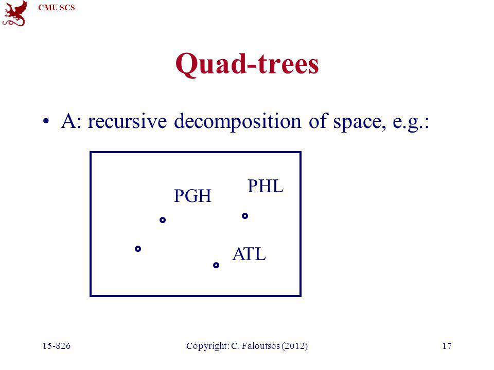 CMU SCS 15-826Copyright: C. Faloutsos (2012)17 Quad-trees A: recursive decomposition of space, e.g.: PGH ATL PHL