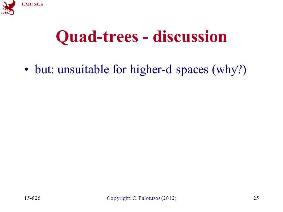 CMU SCS 15-826Copyright: C. Faloutsos (2012)25 Quad-trees - discussion but: unsuitable for higher-d spaces (why?)