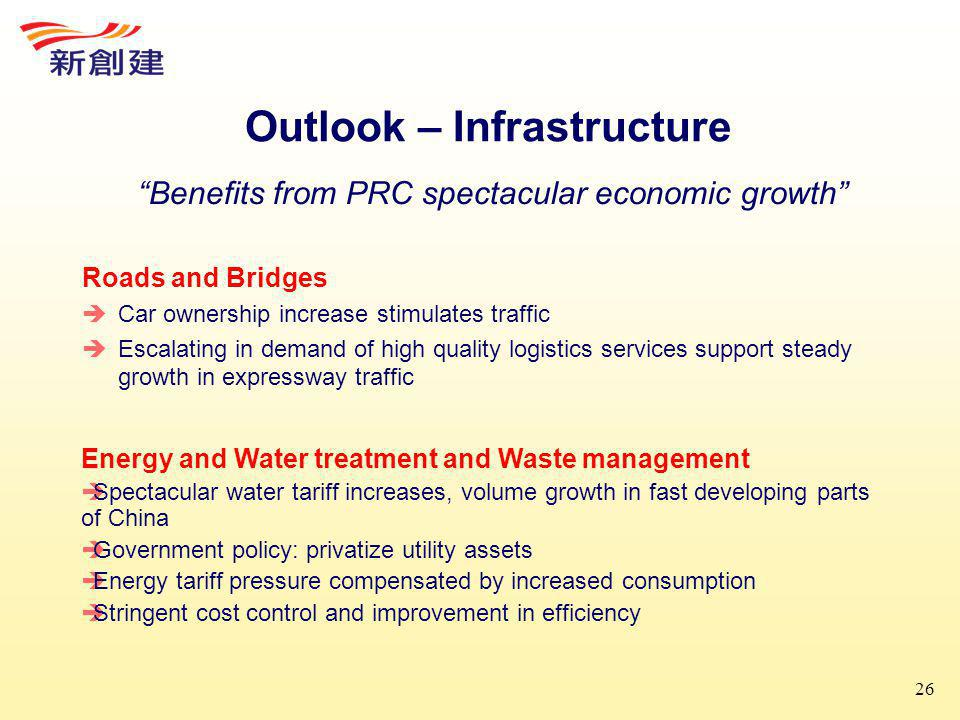 26 Outlook – Infrastructure Roads and Bridges  Car ownership increase stimulates traffic  Escalating in demand of high quality logistics services support steady growth in expressway traffic Benefits from PRC spectacular economic growth Energy and Water treatment and Waste management  Spectacular water tariff increases, volume growth in fast developing parts of China  Government policy: privatize utility assets  Energy tariff pressure compensated by increased consumption  Stringent cost control and improvement in efficiency