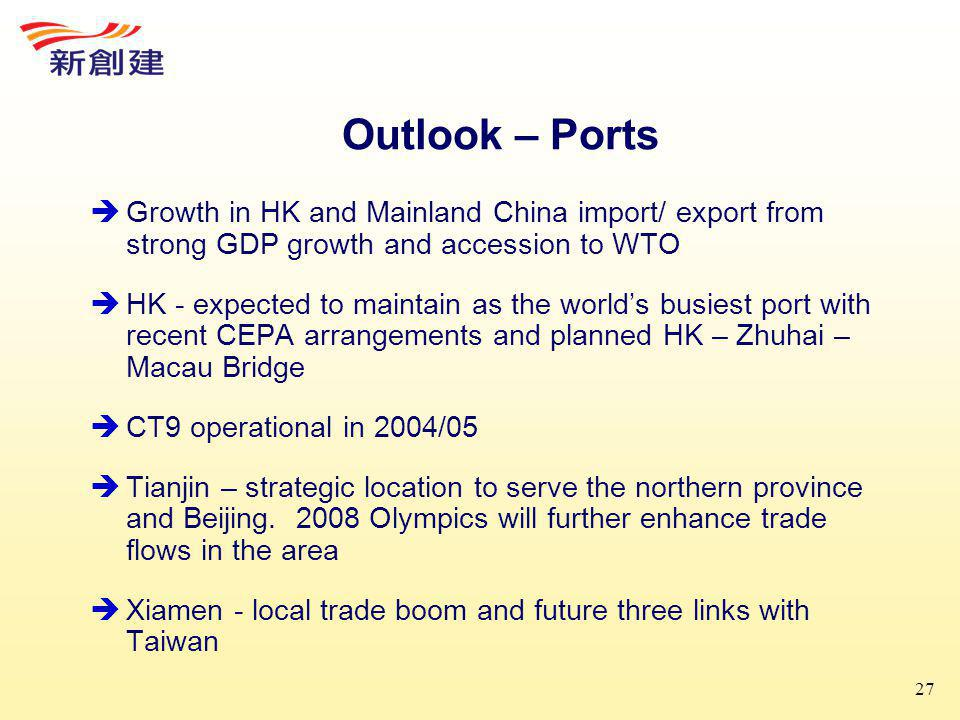 27 Outlook – Ports  Growth in HK and Mainland China import/ export from strong GDP growth and accession to WTO  HK - expected to maintain as the world's busiest port with recent CEPA arrangements and planned HK – Zhuhai – Macau Bridge  CT9 operational in 2004/05  Tianjin – strategic location to serve the northern province and Beijing.