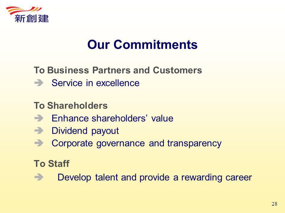 28 Our Commitments To Staff  Develop talent and provide a rewarding career To Business Partners and Customers  Service in excellence To Shareholders  Enhance shareholders' value  Dividend payout  Corporate governance and transparency