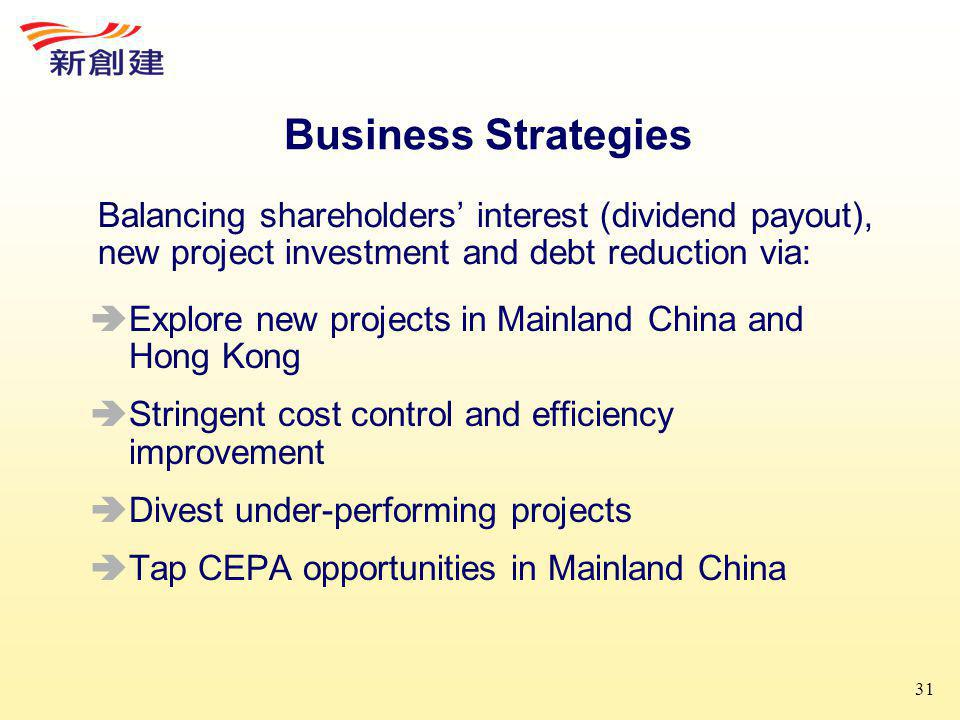 31 Business Strategies  Explore new projects in Mainland China and Hong Kong  Stringent cost control and efficiency improvement  Divest under-performing projects  Tap CEPA opportunities in Mainland China Balancing shareholders' interest (dividend payout), new project investment and debt reduction via: