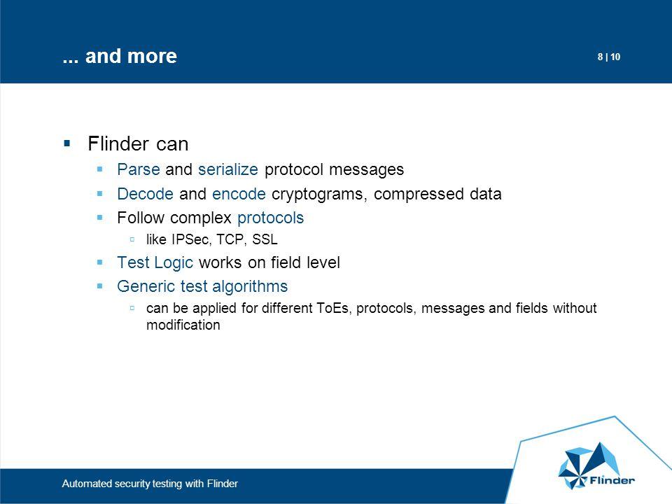 9 | 10 Automated security testing with Flinder Flinder modules Input Generator TOE IG Capturer Parser Protocol Logic IG ActuatorTOE Actuator TOE CapturerIG Dispatcher Serializer Test Logic TOE Dispatcher