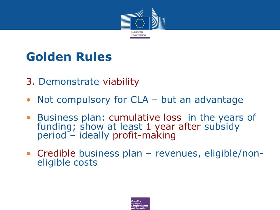 Executive Agency for Competitiveness and Innovation Golden Rules 3.