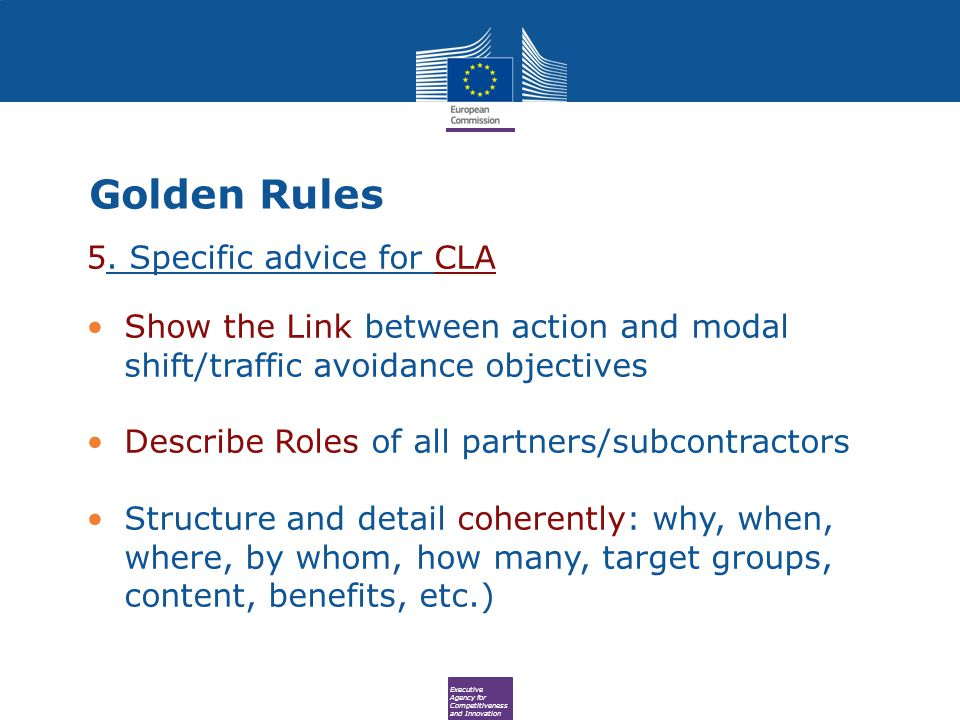 Executive Agency for Competitiveness and Innovation Golden Rules 5.