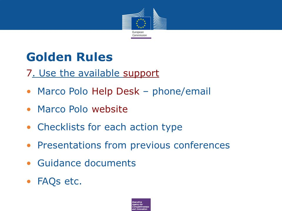 Executive Agency for Competitiveness and Innovation Golden Rules 7.