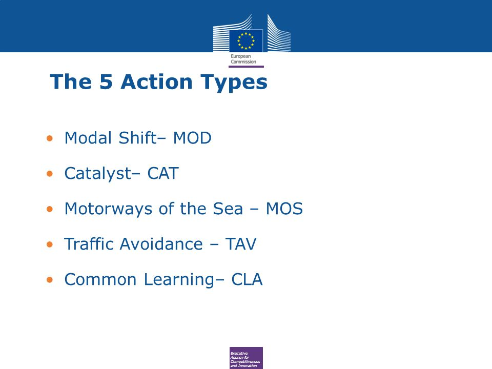 Executive Agency for Competitiveness and Innovation The 5 Action Types Modal Shift– MOD Catalyst– CAT Motorways of the Sea – MOS Traffic Avoidance – TAV Common Learning– CLA