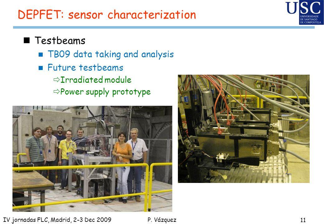 P. Vázquez DEPFET: sensor characterization nTestbeams n TB09 data taking and analysis n Future testbeams ðIrradiated module ðPower supply prototype 11