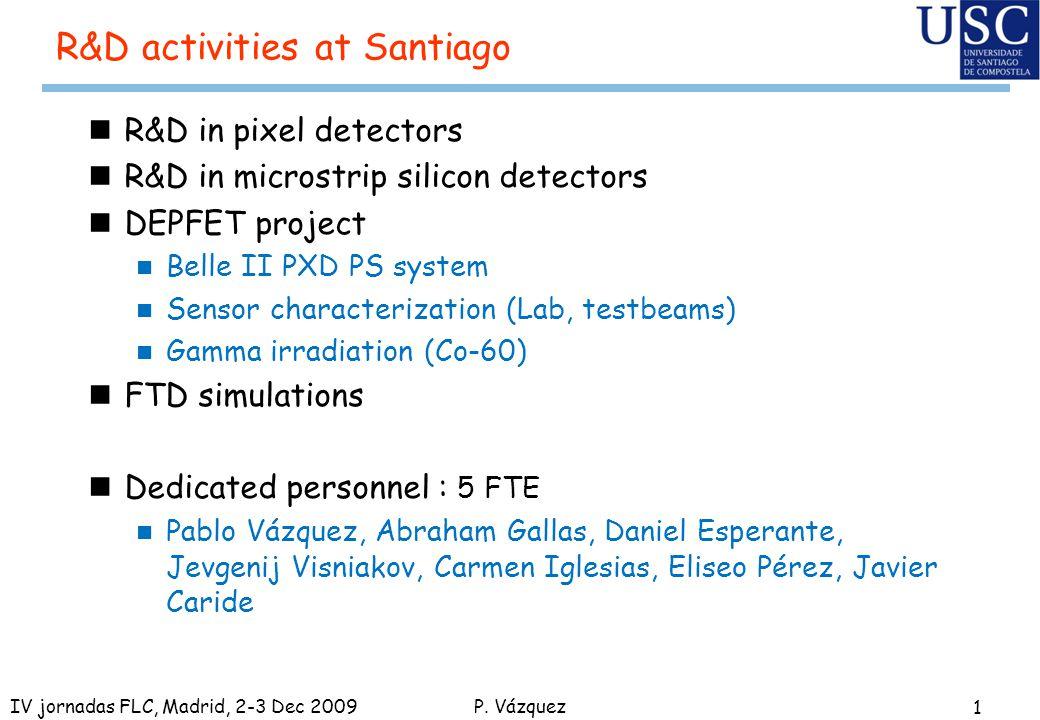 P. Vázquez R&D activities at Santiago nR&D in pixel detectors nR&D in microstrip silicon detectors nDEPFET project n Belle II PXD PS system n Sensor c