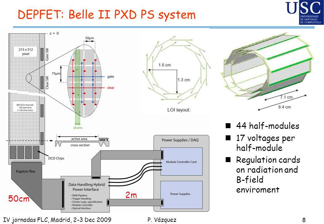 P. Vázquez DEPFET: Belle II PXD PS system 8 IV jornadas FLC, Madrid, 2-3 Dec 2009 50cm 2m n44 half-modules n17 voltages per half-module nRegulation ca