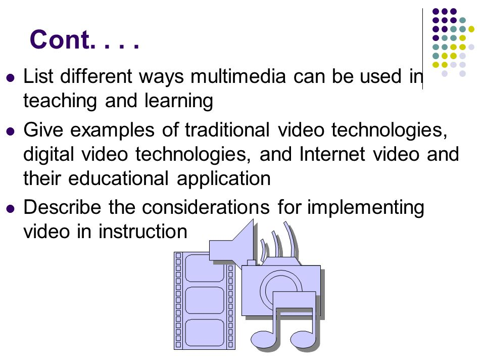 Cont.... List different ways multimedia can be used in teaching and learning Give examples of traditional video technologies, digital video technologi