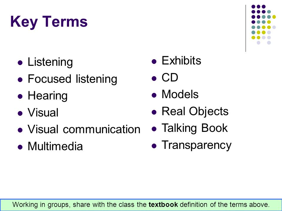 Key Terms Listening Focused listening Hearing Visual Visual communication Multimedia Exhibits CD Models Real Objects Talking Book Transparency Working
