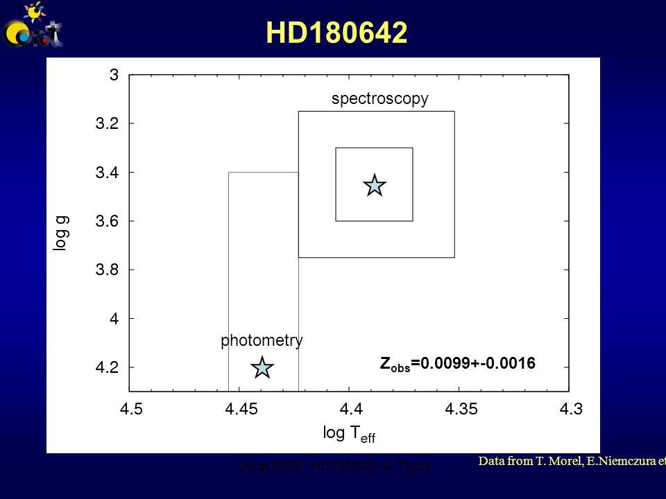 Corot 2009 - HD180642 - A.Thoul HD180642 photometry spectroscopy Z obs =0.0099+-0.0016 Data from T.