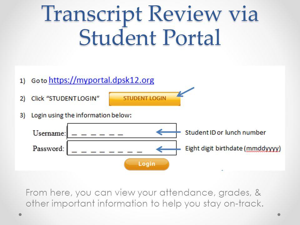 1)Click Grades 2)Click GPA & Transcript Access 3) Click DPS Transcript