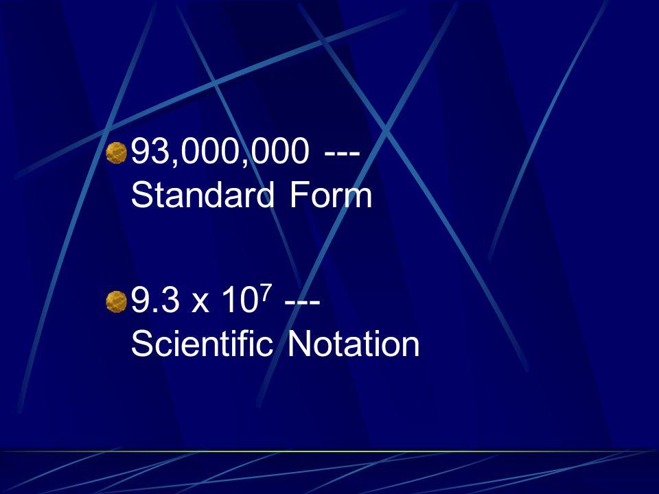 93,000,000 --- Standard Form 9.3 x 10 7 --- Scientific Notation