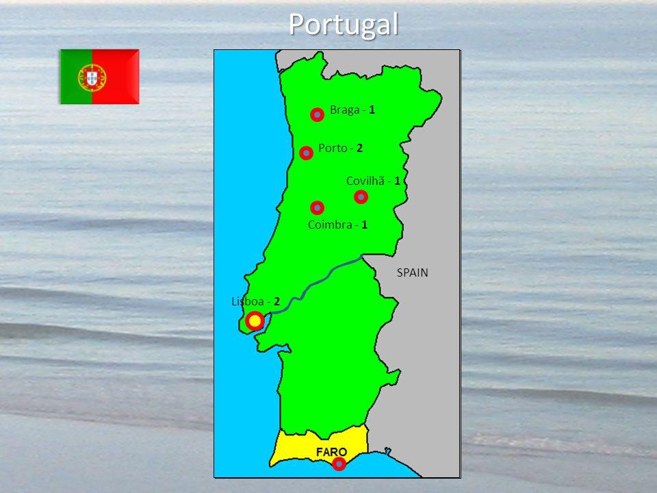 Portugal Lisboa - 2 SPAIN Covilhã - 1 Coimbra - 1 Porto - 2 Braga - 1