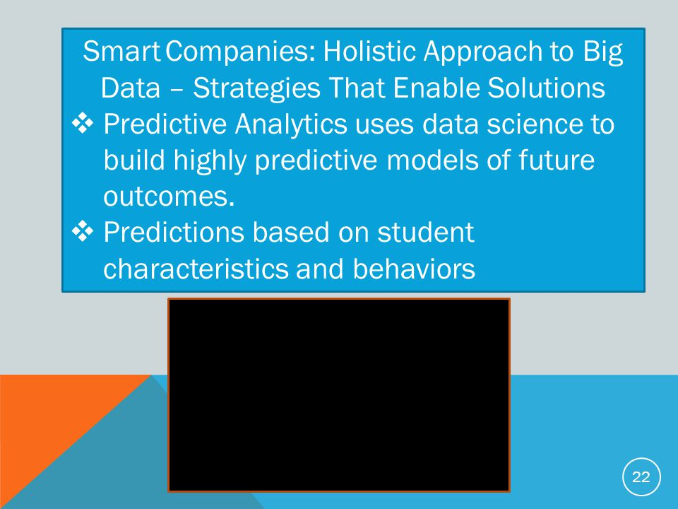 Smart Companies: Holistic Approach to Big Data – Strategies That Enable Solutions  Predictive Analytics uses data science to build highly predictive models of future outcomes.