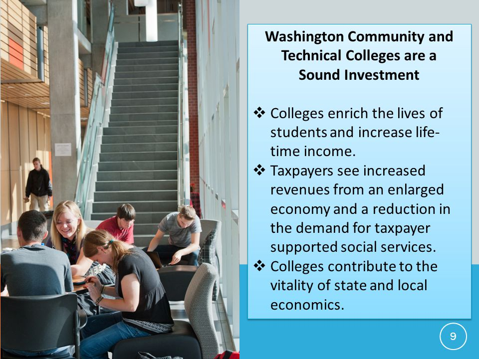 Washington Community and Technical Colleges are a Sound Investment  Colleges enrich the lives of students and increase life- time income.