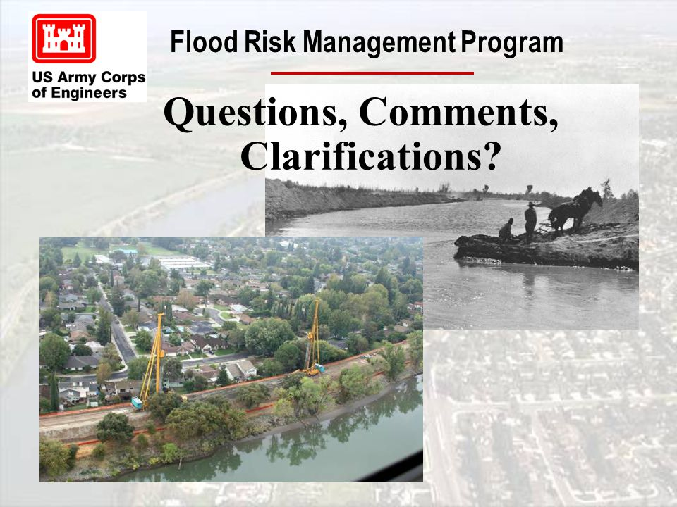 Flood Risk Management Program Questions, Comments, Clarifications