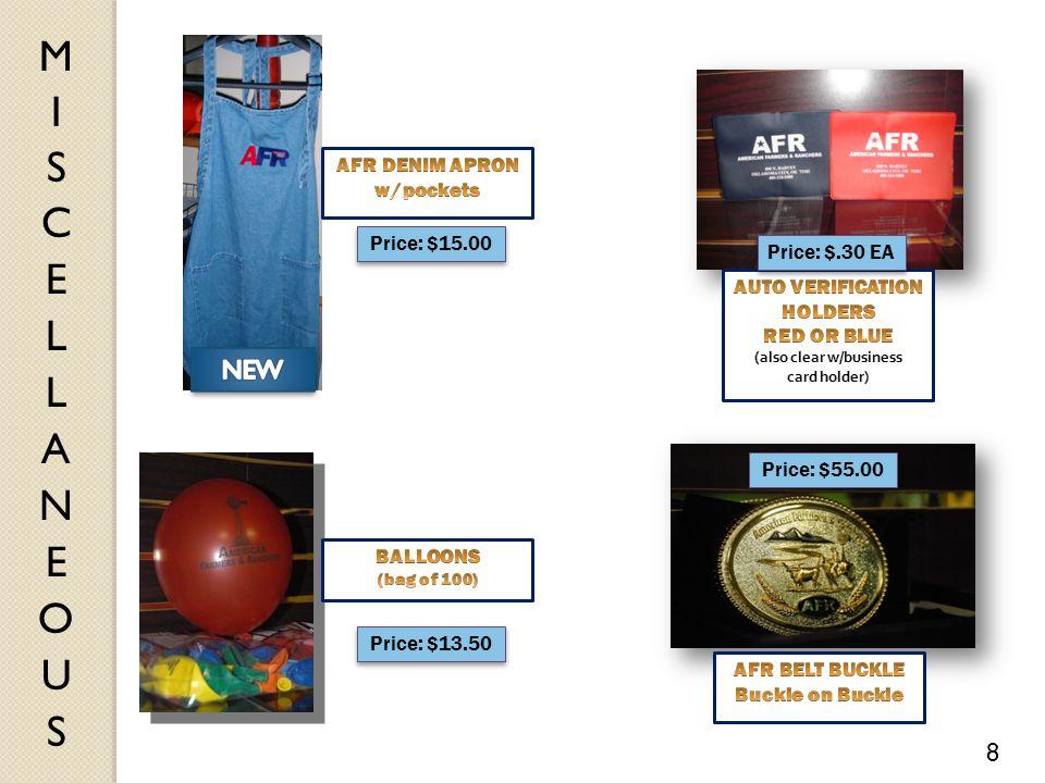 Price: $.30 EA Price: $13.50 Price: $55.00 8 Price: $15.00