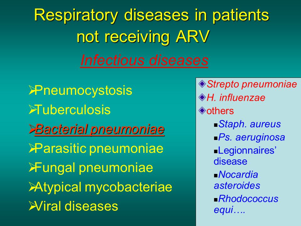 Respiratory diseases in patients not receiving ARV  Pneumocystosis  Tuberculosis  Bacterial pneumoniae  Parasitic pneumoniae  Fungal pneumoniae  Atypical mycobacteriae  Viral diseases Strepto pneumoniae H.